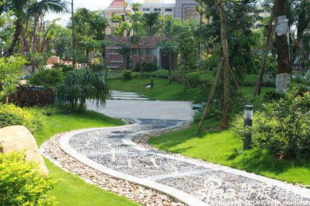 景观道路地面全部采用鹅卵石铺装